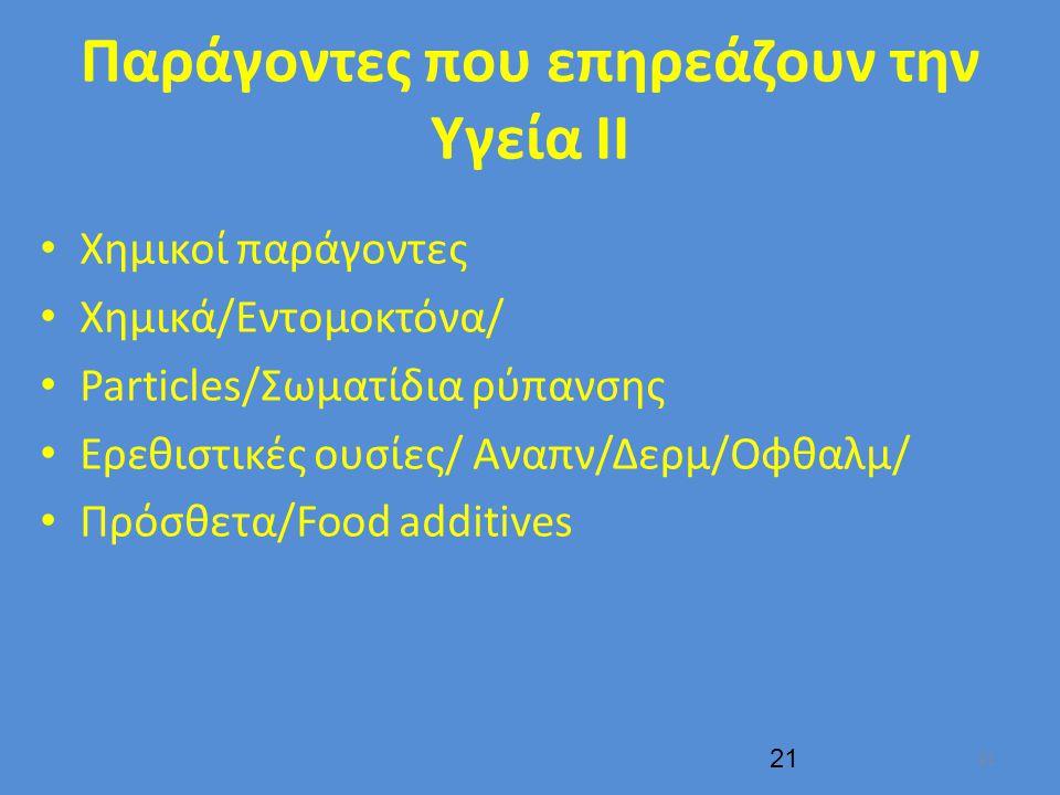 Παράγοντες που επηρεάζουν την Υγεία ΙΙ Χημικοί παράγοντες Χημικά/Εντομοκτόνα/ Particles/Σωματίδια ρύπανσης Ερεθιστικές ουσίες/ Αναπν/Δερμ/Οφθαλμ/ Πρόσθετα/Food additives 21