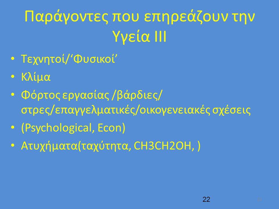 Παράγοντες που επηρεάζουν την Υγεία ΙΙΙ Τεχνητοί/'Φυσικοί' Κλίμα Φόρτος εργασίας /βάρδιες/ στρες/επαγγελματικές/οικογενειακές σχέσεις (Psychological, Econ) Aτυχήματα(ταχύτητα, CH3CH2OH, ) 22