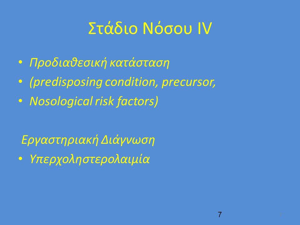 Στάδιο Νόσου IV Προδιαθεσική κατάσταση (predisposing condition, precursor, Nosological risk factors) Εργαστηριακή Διάγνωση Υπερχοληστερολαιμία 7 7