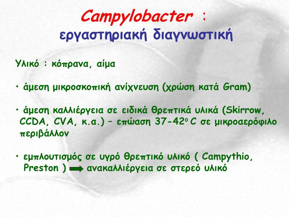 Campylobacter : εργαστηριακή διαγνωστική Υλικό : κόπρανα, αίμα άμεση μικροσκοπική ανίχνευση (χρώση κατά Gram) άμεση καλλιέργεια σε ειδικά θρεπτικά υλι
