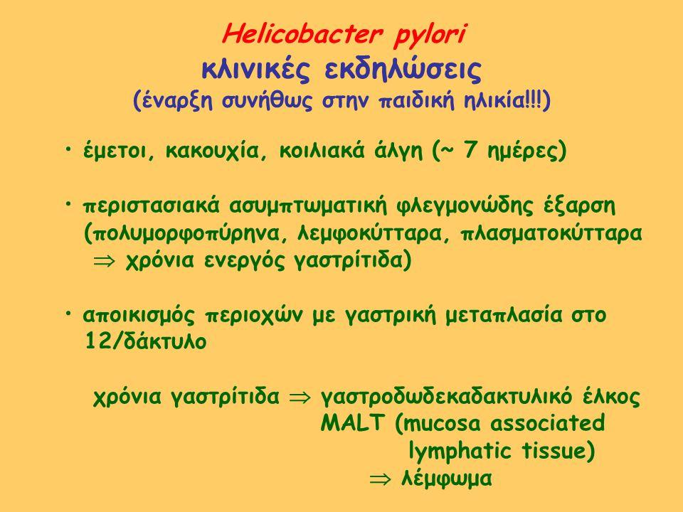Helicobacter pylori κλινικές εκδηλώσεις (έναρξη συνήθως στην παιδική ηλικία!!!) έμετοι, κακουχία, κοιλιακά άλγη (~ 7 ημέρες) περιστασιακά ασυμπτωματικ