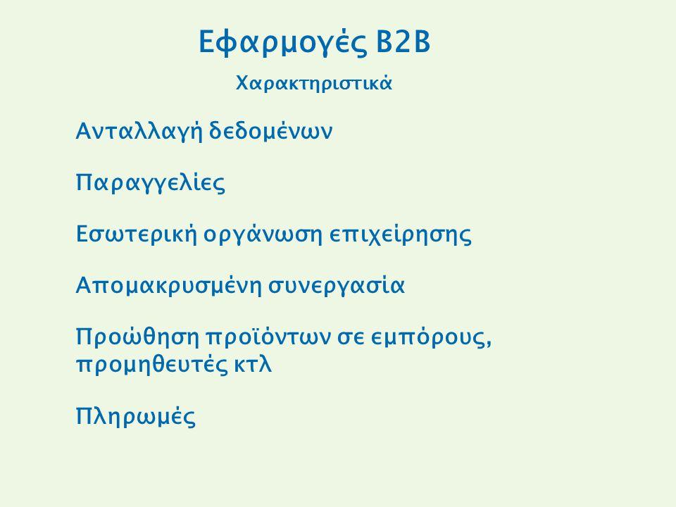 Εφαρμογές B2B Χαρακτηριστικά Ανταλλαγή δεδομένων Παραγγελίες Εσωτερική οργάνωση επιχείρησης Απομακρυσμένη συνεργασία Προώθηση προϊόντων σε εμπόρους, προμηθευτές κτλ Πληρωμές