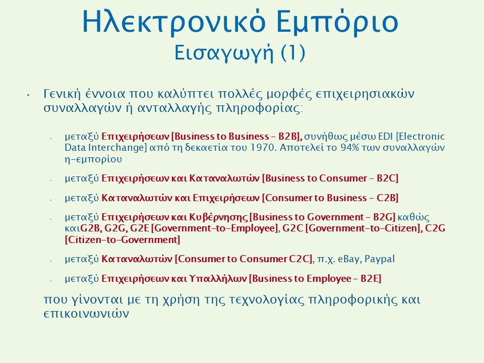 Ηλεκτρονικό Εμπόριο Εισαγωγή (1) Γενική έννοια που καλύπτει πολλές μορφές επιχειρησιακών συναλλαγών ή ανταλλαγής πληροφορίας: μεταξύ Επιχειρήσεων [Bus