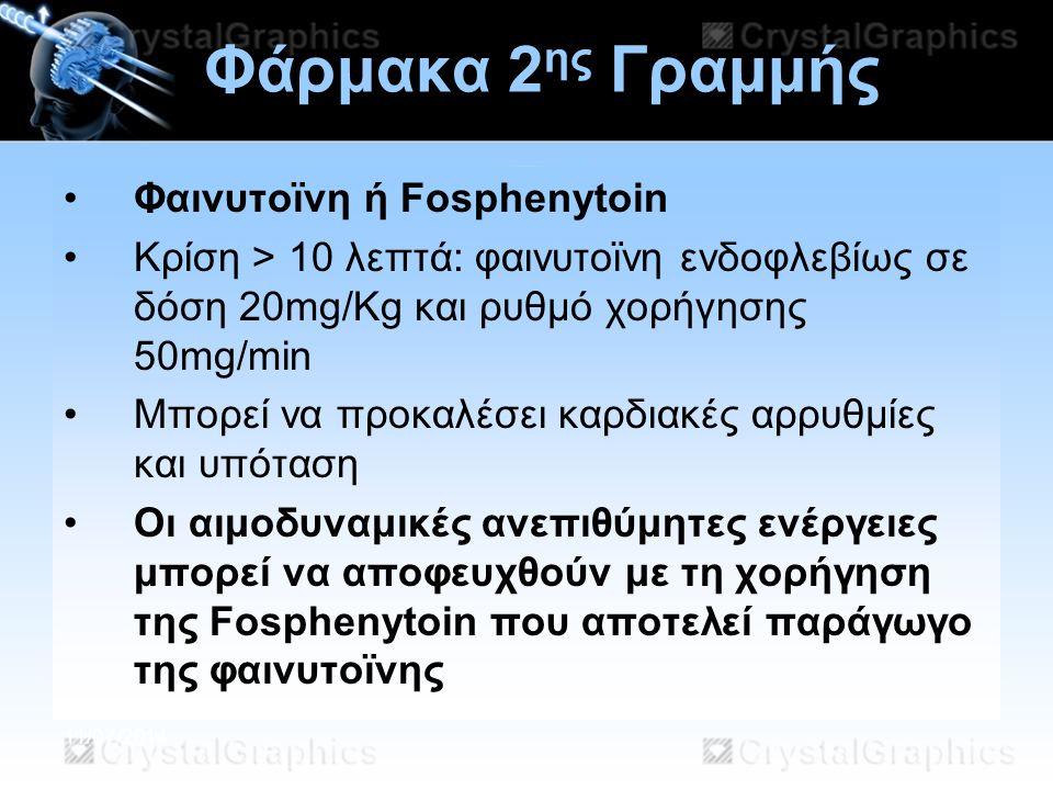 11/07/2014 Φάρμακα 2 ης Γραμμής Φαινυτοϊνη ή Fosphenytoin Κρίση > 10 λεπτά: φαινυτοϊνη ενδοφλεβίως σε δόση 20mg/Kg και ρυθμό χορήγησης 50mg/min Μπορεί