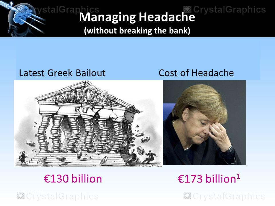11/07/2014 €130 billion Latest Greek Bailout Cost of Headache €173 billion 1 1 Eur J Neurol December 2011 Managing Headache (without breaking the bank