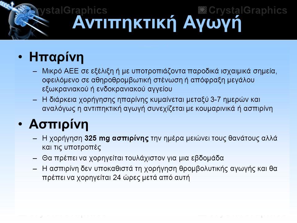 11/07/2014 Αντιπηκτική Αγωγή Ηπαρίνη –Μικρό ΑΕΕ σε εξέλιξη ή με υποτροπιάζοντα παροδικά ισχαιμικά σημεία, οφειλόμενο σε αθηροθρομβωτική στένωση ή απόφ