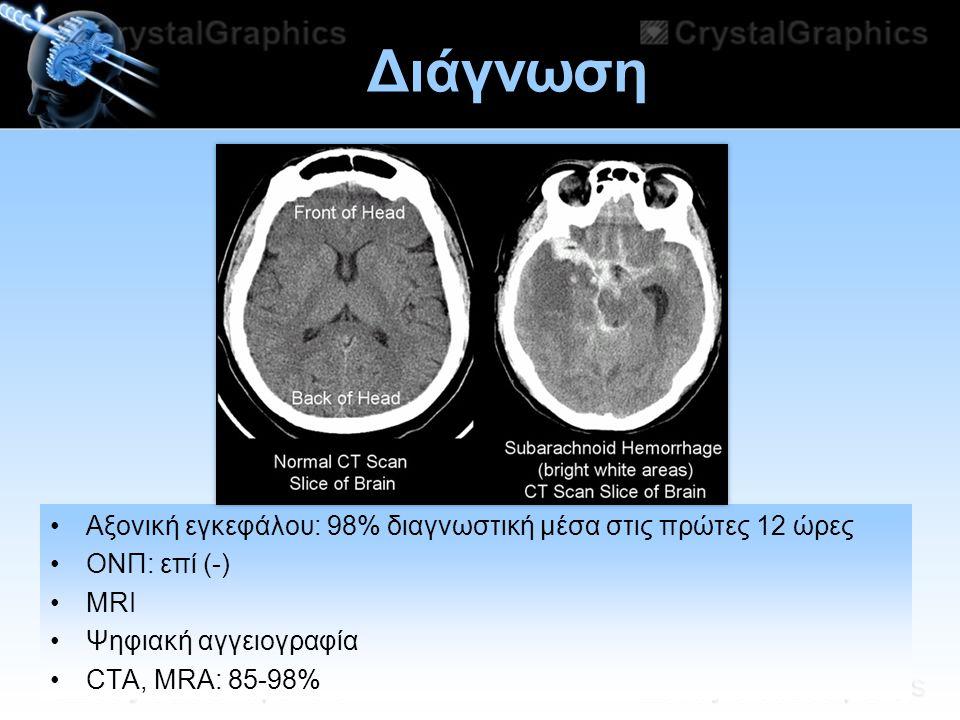 11/07/2014 Διάγνωση Αξονική εγκεφάλου: 98% διαγνωστική μέσα στις πρώτες 12 ώρες ΟΝΠ: επί (-) MRI Ψηφιακή αγγειογραφία CTA, MRA: 85-98%