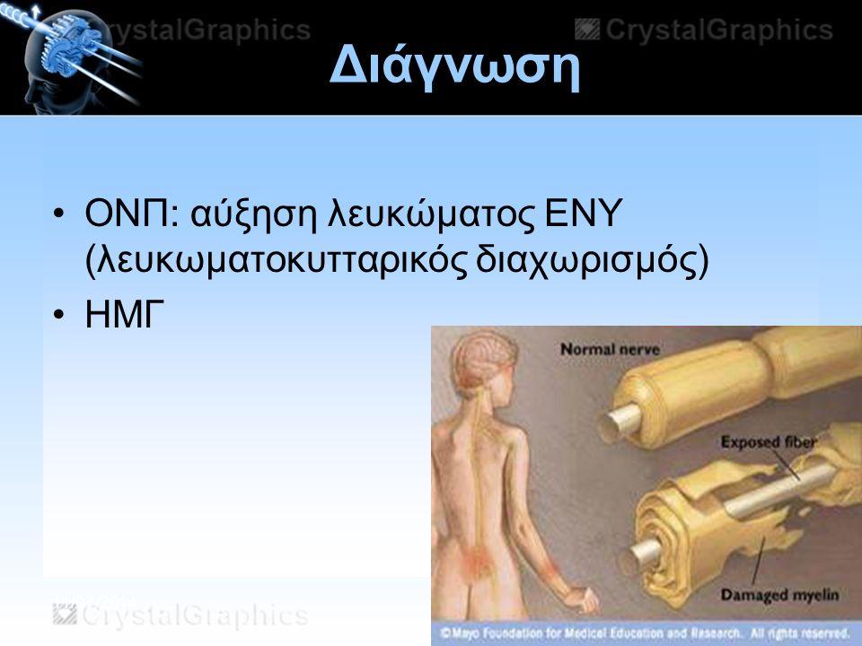 11/07/2014 Διάγνωση ΟΝΠ: αύξηση λευκώματος ΕΝΥ (λευκωματοκυτταρικός διαχωρισμός) ΗΜΓ