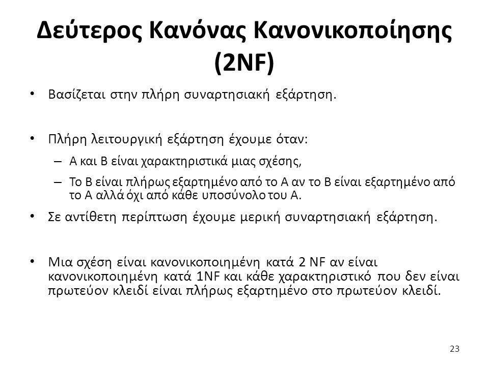 Δεύτερος Κανόνας Κανονικοποίησης (2NF) Βασίζεται στην πλήρη συναρτησιακή εξάρτηση. Πλήρη λειτουργική εξάρτηση έχουμε όταν: – A και B είναι χαρακτηριστ