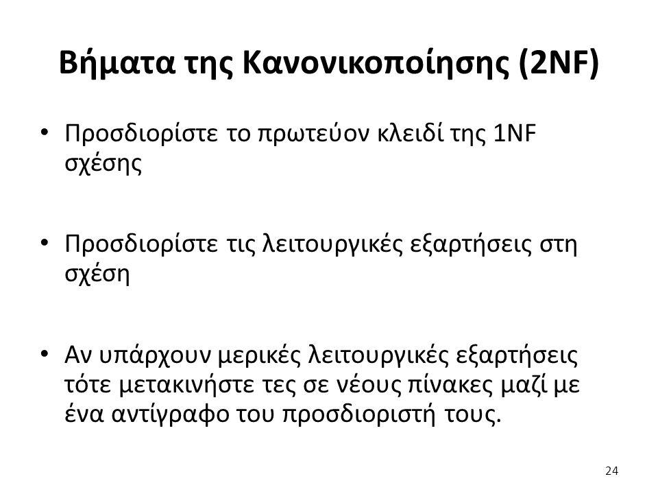 Βήματα της Κανονικοποίησης (2NF) Προσδιορίστε το πρωτεύον κλειδί της 1NF σχέσης Προσδιορίστε τις λειτουργικές εξαρτήσεις στη σχέση Αν υπάρχουν μερικές