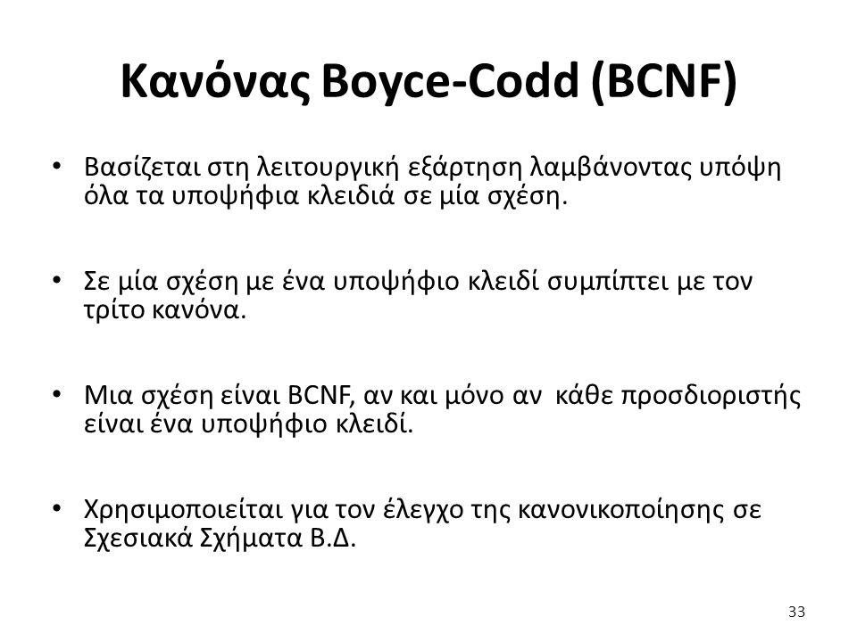 Κανόνας Boyce-Codd (BCNF) Βασίζεται στη λειτουργική εξάρτηση λαμβάνοντας υπόψη όλα τα υποψήφια κλειδιά σε μία σχέση. Σε μία σχέση με ένα υποψήφιο κλει