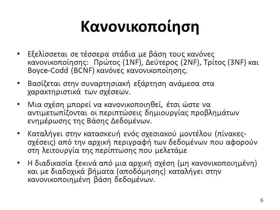 Κανονικοποίηση Εξελίσσεται σε τέσσερα στάδια με βάση τους κανόνες κανονικοποίησης: Πρώτος (1NF), Δεύτερος (2NF), Τρίτος (3NF) και Boyce-Codd (BCNF) κα