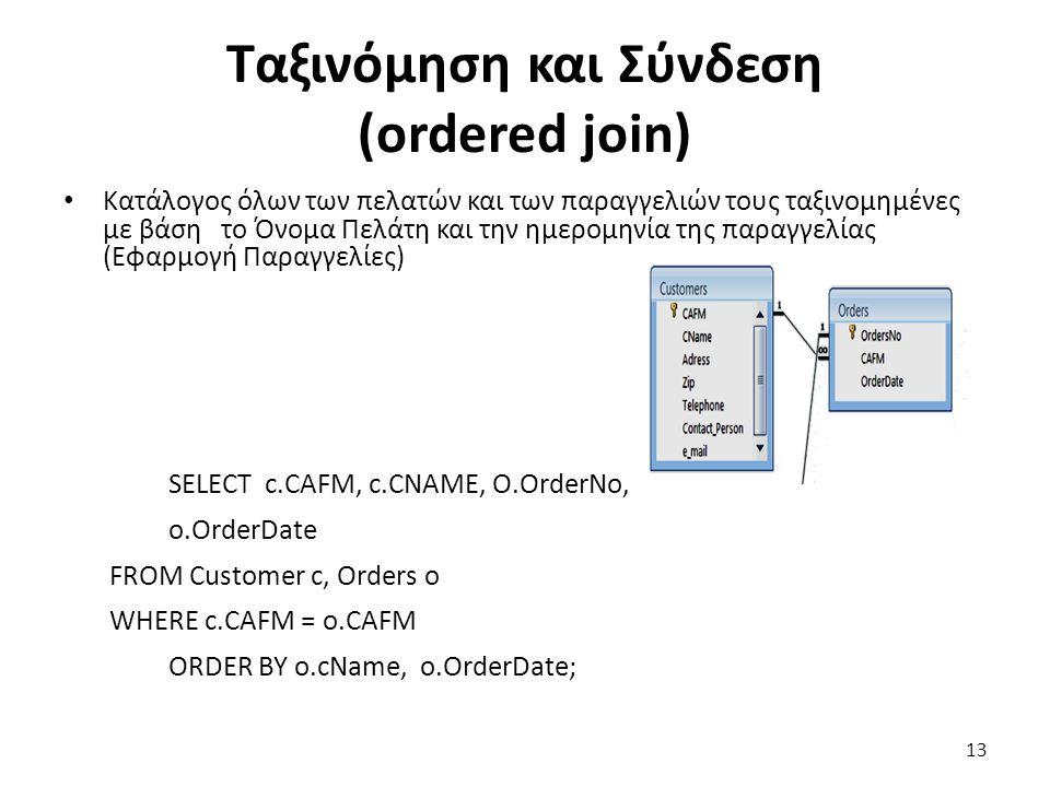 Ταξινόμηση και Σύνδεση (ordered join) Κατάλογος όλων των πελατών και των παραγγελιών τους ταξινομημένες με βάση το Όνομα Πελάτη και την ημερομηνία της παραγγελίας (Εφαρμογή Παραγγελίες) SELECT c.CAFM, c.CNAME, O.OrderNo, o.OrderDate FROM Customer c, Orders o WHERE c.CAFM = o.CAFM ORDER BY o.cName, o.OrderDate; 13