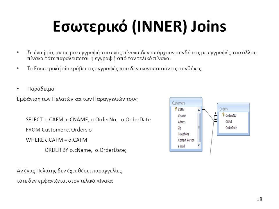 Εσωτερικό (INNER) Joins Σε ένα join, αν σε μια εγγραφή του ενός πίνακα δεν υπάρχουν συνδέσεις με εγγραφές του άλλου πίνακα τότε παραλείπεται η εγγραφή από τον τελικό πίνακα.