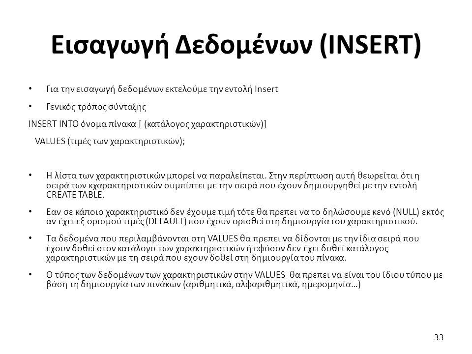 Εισαγωγή Δεδομένων (ΙNSERT) Για την εισαγωγή δεδομένων εκτελούμε την εντολή Insert Γενικός τρόπος σύνταξης INSERT INTO όνομα πίνακα [ (κατάλογος χαρακτηριστικών)] VALUES (τιμές των χαρακτηριστικών); Η λίστα των χαρακτηριστικών μπορεί να παραλείπεται.