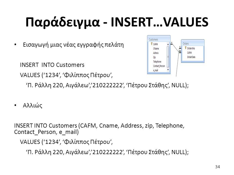 Παράδειγμα - INSERT…VALUES Εισαγωγή μιας νέας εγγραφής πελάτη INSERT INTO Customers VALUES ('1234', 'Φιλίππος Πέτρου', 'Π.