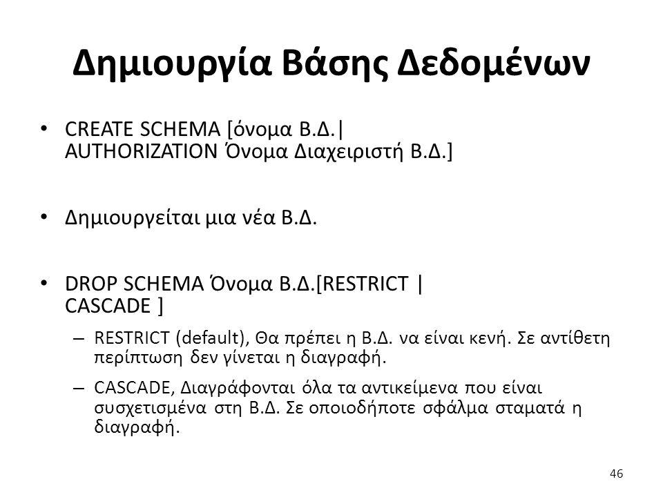 Δημιουργία Βάσης Δεδομένων CREATE SCHEMA [όνομα Β.Δ.| AUTHORIZATION Όνομα Διαχειριστή Β.Δ.] Δημιουργείται μια νέα Β.Δ.