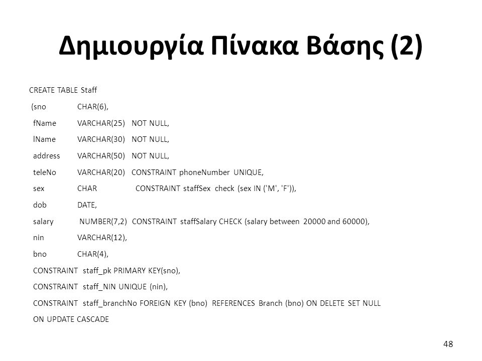 Δημιουργία Πίνακα Βάσης (2) CREATE TABLE Staff (snoCHAR(6), fNameVARCHAR(25) NOT NULL, lNameVARCHAR(30) NOT NULL, addressVARCHAR(50) NOT NULL, teleNoVARCHAR(20) CONSTRAINT phoneNumber UNIQUE, sexCHAR CONSTRAINT staffSex check (sex IN ( M , F )), dobDATE, salary NUMBER(7,2) CONSTRAINT staffSalary CHECK (salary between 20000 and 60000), ninVARCHAR(12), bnoCHAR(4), CONSTRAINT staff_pk PRIMARY KEY(sno), CONSTRAINT staff_NIN UNIQUE (nin), CONSTRAINT staff_branchNo FOREIGN KEY (bno) REFERENCES Branch (bno) ON DELETE SET NULL ON UPDATE CASCADE 48