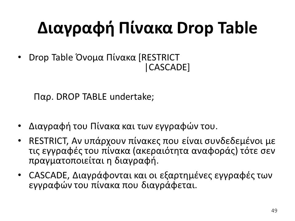 Διαγραφή Πίνακα Drop Table Drop Table Όνομα Πίνακα [RESTRICT |CASCADE] Παρ.