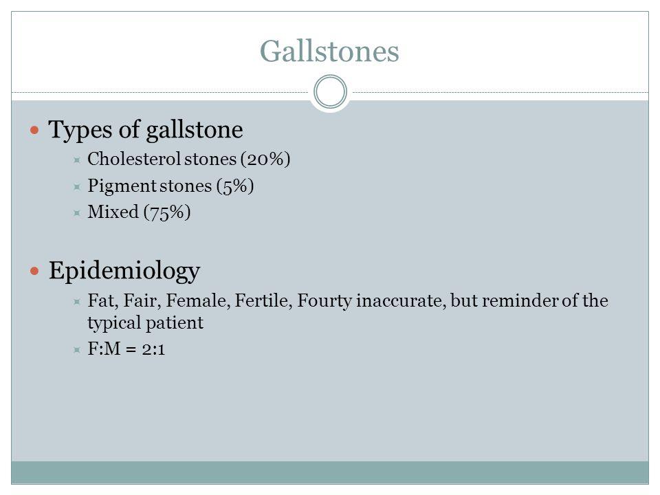 Gallstones Xοληστερινικοί χολόλιθοι Καφέ λίθοι από χολοχρωστική Μαύροι λίθοι από χολοχρωστική Επίπτωση 80 – 90%5-10%<5% Κύρια σύσταση 50-90% χοληστερόλη<50% χολερυθρίνη>50% χολερυθρίνη Χρώμα Κίτρινο-γκρίκαφέΒαθύ καφέ - μαύρο Αιτιολογία Υπερκορεσμένη χολή σε χοληστερόλη Αυξημένη αποσύζευξη της γλυκοριονιωμένης χολερυθρίνης Αυξημένη ποσότητα χολερυθρίνης στη χολή Παράγοντες κινδύνου Ηλικία Γυναικείο φύλο Παχυσαρκία Λοίμωξη χοληφόρων Ανώμαλη ανατομία χοληφόρων (νόσος Caroli) Αιμολυτική αναιμία Κίρρωση Νόσος Crohn Κυστική ίνωση Διαιτιτητικοί παράγοντες Δυσλιπιδαιμία, υπετριγλυκεριδαιμία Εγκυμοσύνη, αντισυλληπτικά, ορμονική υποκατάσταση Καθιστική ζωή, γρήγορη απώλεια βάρους