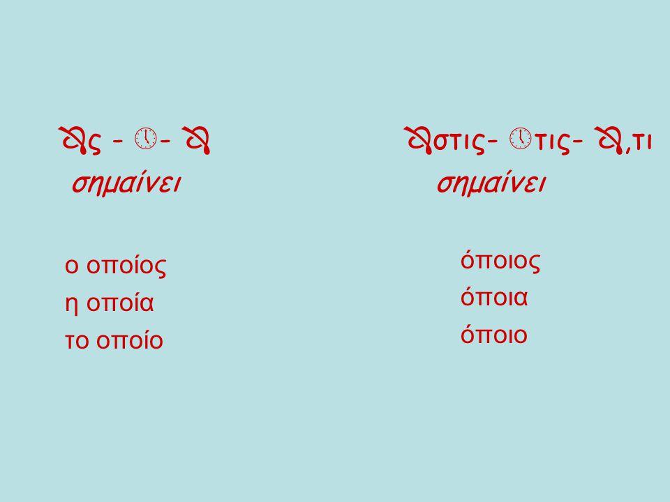 Κλίση αντωνυμιών Ενικός αριθμός Ονομαστική Γενική Δοτική Αιτιατική  ς   ο   ς ο      ν  ν 