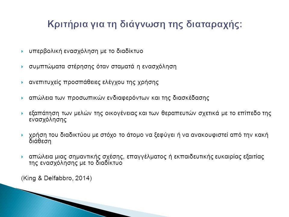  κατάθλιψη (Kim et al., 2006; Winkler, Dorsing, Rief, Shen & Glombiewski, 2013; Yen, Ko, Yen, Wu & Yang, 2007)  επιθετικότητα (Yen et al., 2007)  κοινωνική φοβία (Yen et al., 2007)  αυτοκτονικό ιδεασμό (Kim et al., 2006)  ΔΕΠΥ(Yen et al., 2007; Yoo et al., 2004 )  άνδρες (Winkler et al., 2013; Fattore, Melis, Fadda & Fratta, 2014)  έντονη παρουσία στις χώρες της Ανατολικής Ασίας (Fattore et al., 2014; Kim et al., 2010)