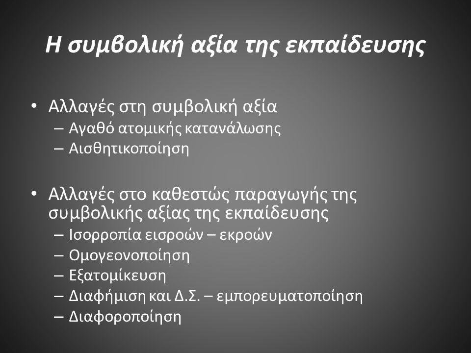 Η συμβολική αξία της εκπαίδευσης Αλλαγές στη συμβολική αξία – Αγαθό ατομικής κατανάλωσης – Αισθητικοποίηση Αλλαγές στο καθεστώς παραγωγής της συμβολικής αξίας της εκπαίδευσης – Ισορροπία εισροών – εκροών – Ομογεονοποίηση – Εξατομίκευση – Διαφήμιση και Δ.Σ.