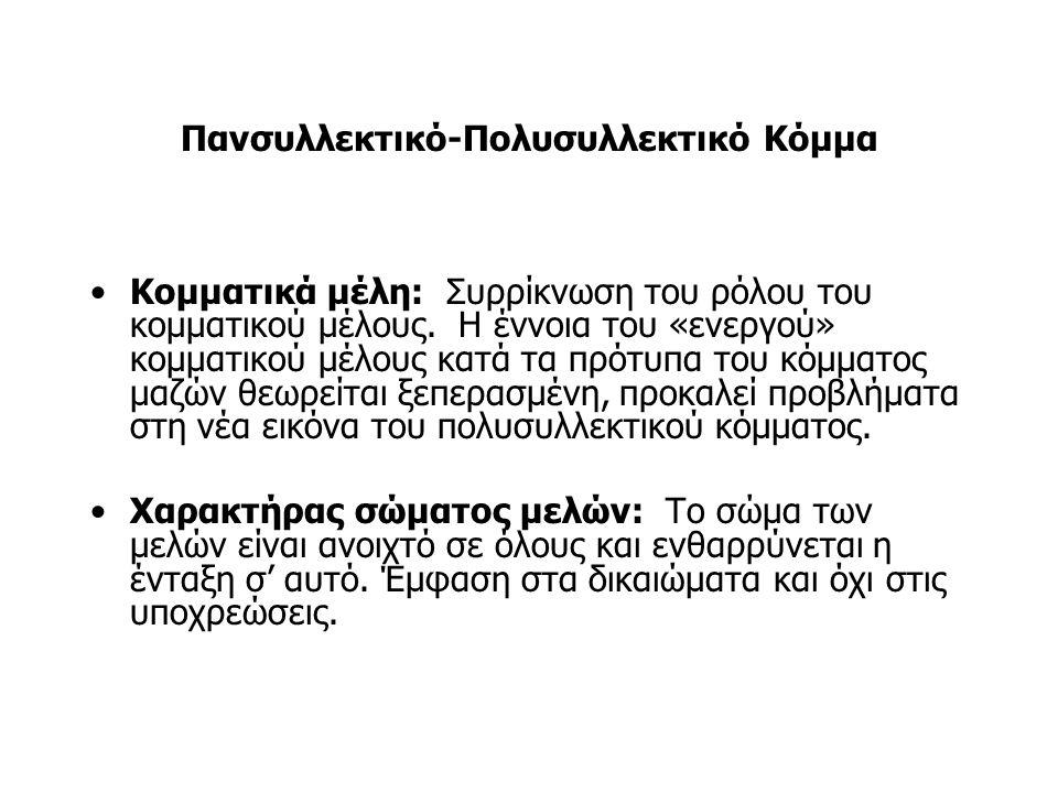 Πανσυλλεκτικό-Πολυσυλλεκτικό Κόμμα Σχέσεις μεταξύ κανονικών μελών και κομματικής ελίτ: Από πάνω προς τα κάτω.