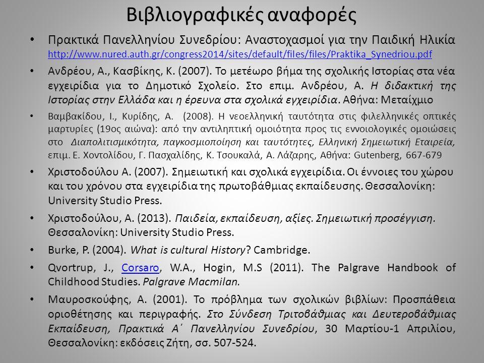 Βιβλιογραφικές αναφορές Πρακτικά Πανελληνίου Συνεδρίου: Αναστοχασμοί για την Παιδική Ηλικία http://www.nured.auth.gr/congress2014/sites/default/files/files/Praktika_Synedriou.pdf http://www.nured.auth.gr/congress2014/sites/default/files/files/Praktika_Synedriou.pdf Ανδρέου, Α., Κασβίκης, Κ.