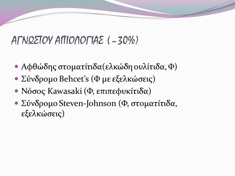 ΑΓΝΩΣΤΟΥ ΑΙΤΙΟΛΟΓΙΑΣ (~30%) Αφθώδης στοματίτιδα(ελκώδη ουλίτιδα, Φ) Σύνδρομο Behcet's (Φ με εξελκώσεις) Νόσος Kawasaki (Φ, επιπεφυκίτιδα) Σύνδρομο Ste