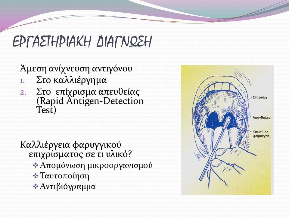 ΕΡΓΑΣΤΗΡΙΑΚΗ ΔΙΑΓΝΩΣΗ Άμεση ανίχνευση αντιγόνου 1. Στο καλλιέργημα 2. Στο επίχρισμα απευθείας (Rapid Antigen-Detection Test) Καλλιέργεια φαρυγγικού επ