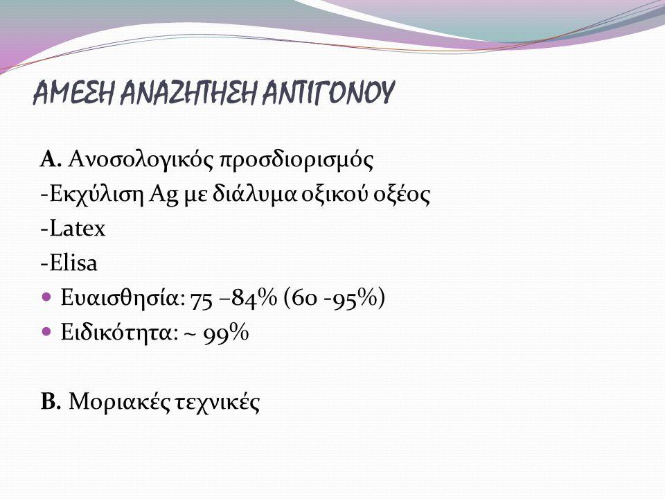ΑΜΕΣΗ ΑΝΑΖΗΤΗΣΗ ΑΝΤΙΓΟΝΟΥ Α. Aνοσολογικός προσδιορισμός -Εκχύλιση Ag με διάλυμα οξικού οξέος -Latex -Elisa Ευαισθησία: 75 –84% (60 -95%) Ειδικότητα: ~