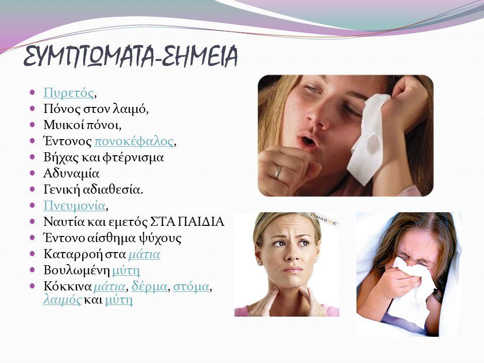 ΣΥΜΠΤΩΜΑΤΑ-ΣΗΜΕΙΑ Πυρετός, Πυρετός Πόνος στον λαιμό, Μυικοί πόνοι, Έντονος πονοκέφαλος,πονοκέφαλος Βήχας και φτέρνισμα Αδυναμία Γενική αδιαθεσία. Πνευ