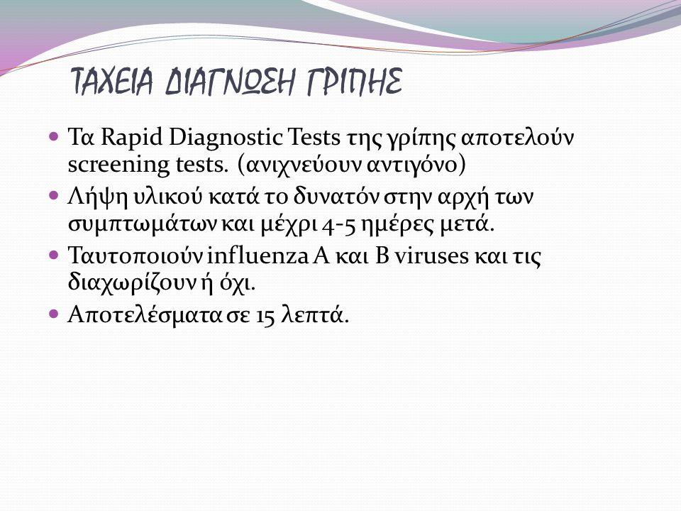 ΤΑΧΕΙΑ ΔΙΑΓΝΩΣΗ ΓΡΙΠΗΣ Τα Rapid Diagnostic Tests της γρίπης αποτελούν screening tests. (ανιχνεύουν αντιγόνο) Λήψη υλικού κατά το δυνατόν στην αρχή των