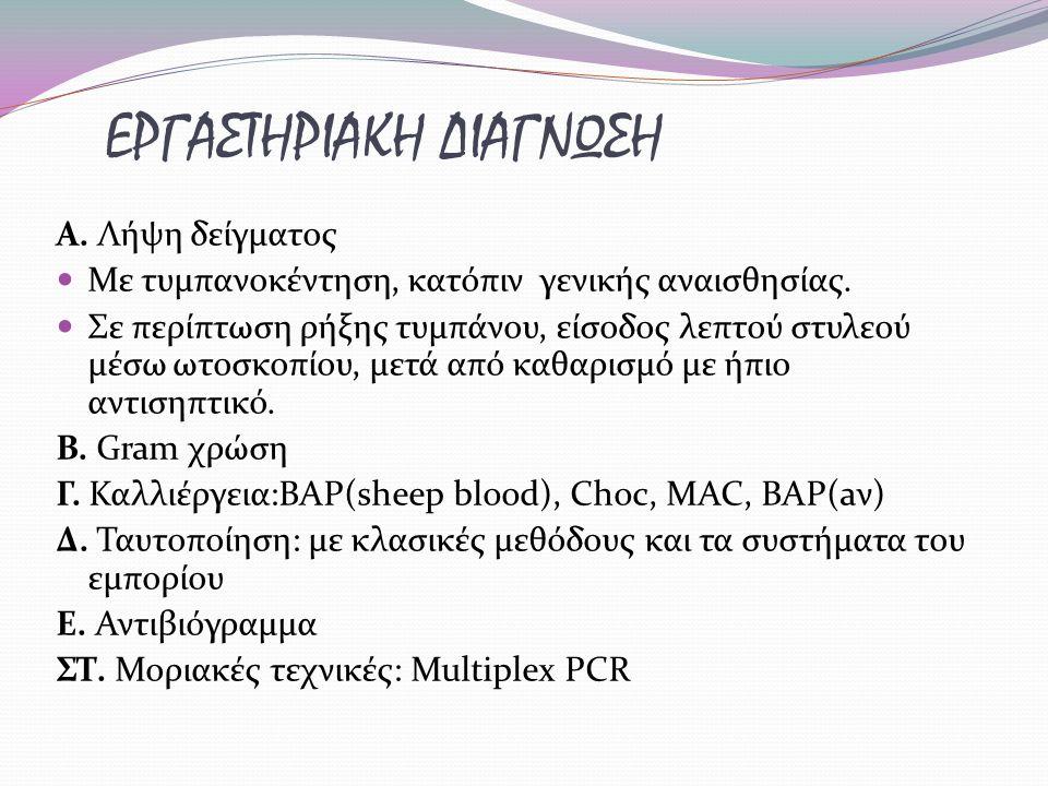 ΕΡΓΑΣΤΗΡΙΑΚΗ ΔΙΑΓΝΩΣΗ A.Λήψη δείγματος Με τυμπανοκέντηση, κατόπιν γενικής αναισθησίας.