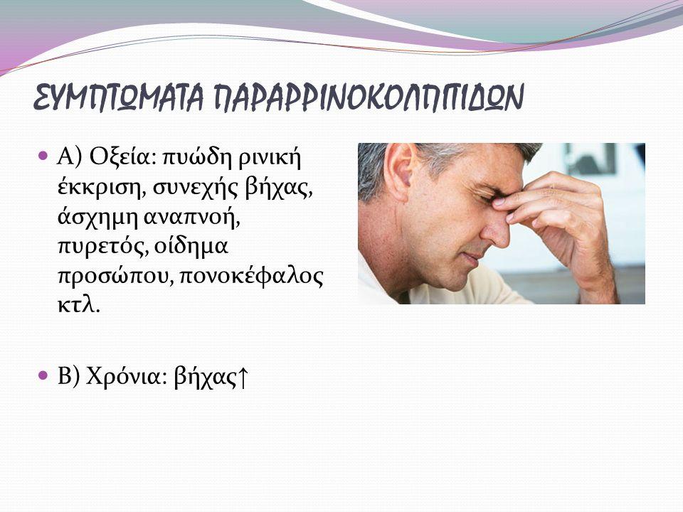 ΣΥΜΠΤΩΜΑΤΑ ΠΑΡΑΡΡΙΝΟΚΟΛΠΙΤΙΔΩΝ Α) Οξεία: πυώδη ρινική έκκριση, συνεχής βήχας, άσχημη αναπνοή, πυρετός, οίδημα προσώπου, πονοκέφαλος κτλ. Β) Χρόνια: βή