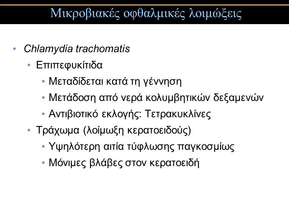 Chlamydia trachomatis Επιπεφυκίτιδα Μεταδίδεται κατά τη γέννηση Μετάδοση από νερά κολυμβητικών δεξαμενών Αντιβιοτικό εκλογής: Τετρακυκλίνες Τράχωμα (λ