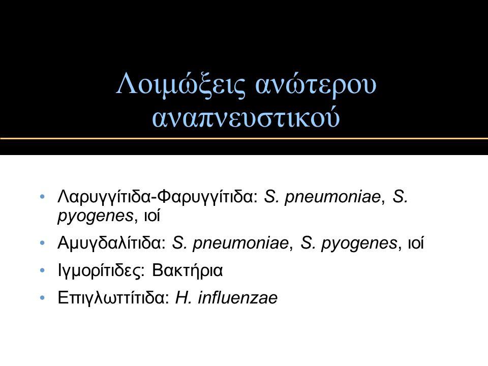 Λοιμώξεις ανώτερου αναπνευστικού Λαρυγγίτιδα-Φαρυγγίτιδα: S. pneumoniae, S. pyogenes, ιοί Αμυγδαλίτιδα: S. pneumoniae, S. pyogenes, ιοί Ιγμορίτιδες: Β