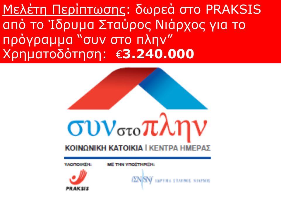 """Μελέτη Περίπτωσης: δωρεά στο PRAKSIS από το Ίδρυμα Σταύρος Νιάρχος για το πρόγραμμα """"συν στο πλην"""" Χρηματοδότηση: € 3.240.000"""