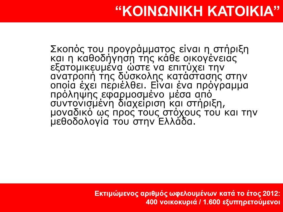 """""""KOINΩΝΙΚΗ KATOIKIA"""" Εκτιμώμενος αριθμός ωφελουμένων κατά το έτος 2012: 400 νοικοκυριά / 1.600 εξυπηρετούμενοι Σκοπός του προγράμματος είναι η στήριξη"""