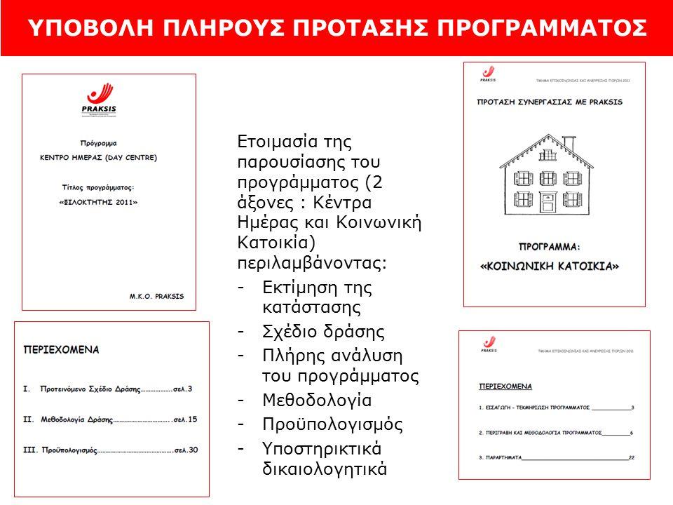 ΥΠΟΒΟΛΗ ΠΛΗΡΟΥΣ ΠΡΟΤΑΣΗΣ ΠΡΟΓΡΑΜΜΑΤΟΣ Ετοιμασία της παρουσίασης του προγράμματος (2 άξονες : Κέντρα Ημέρας και Κοινωνική Κατοικία) περιλαμβάνοντας: -Εκτίμηση της κατάστασης -Σχέδιο δράσης -Πλήρης ανάλυση του προγράμματος -Μεθοδολογία -Προϋπολογισμός -Υποστηρικτικά δικαιολογητικά