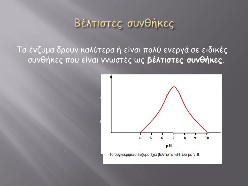 Τα ένζυμα δρουν καλύτερα ή είναι πολύ ενεργά σε ειδικές συνθήκες που είναι γνωστές ως βέλτιστες συνθήκες. Ταχύτητα αντίδρασης