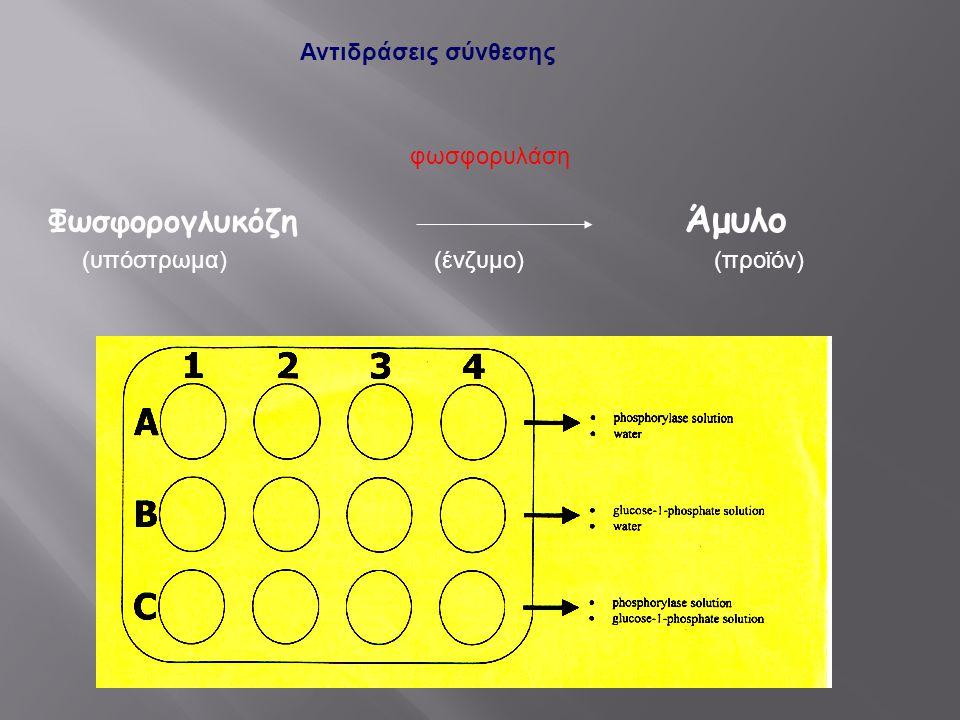Φωσφορογλυκόζη Άμυλο Αντιδράσεις σύνθεσης (υπόστρωμα)(ένζυμο)(προϊόν) φωσφορυλάση