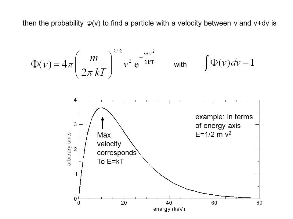 then the probability  (v) to find a particle with a velocity between v and v+dv is with example: in terms of energy axis E=1/2 m v 2 Max velocity corresponds To E=kT