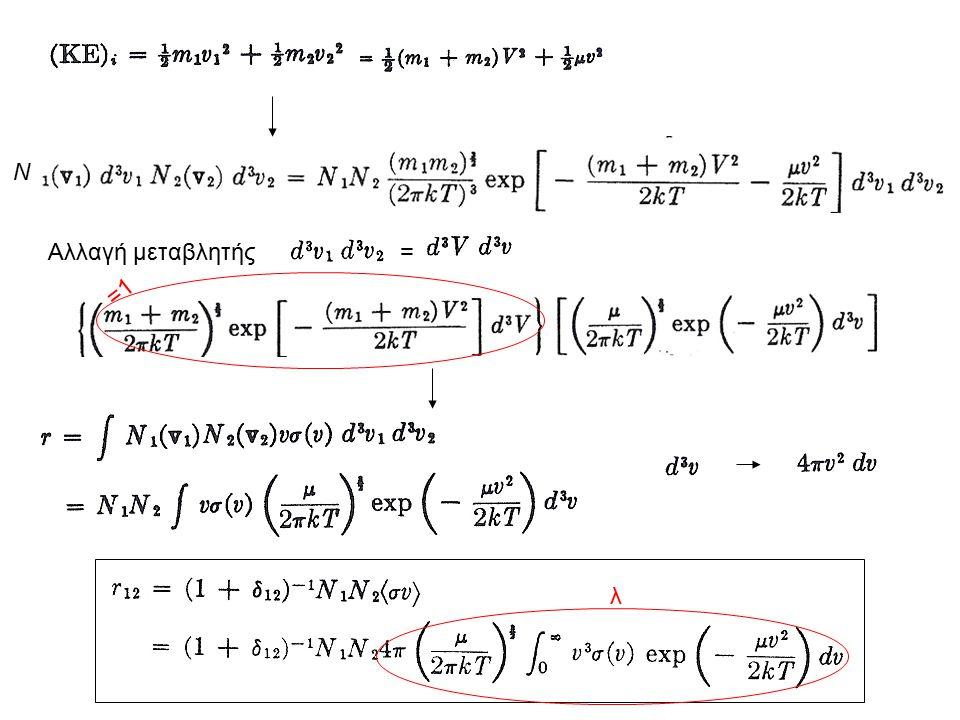 Φράγμα Coulomb Κινητική ενέργεια για κατανομή M-B ~ δηλ.