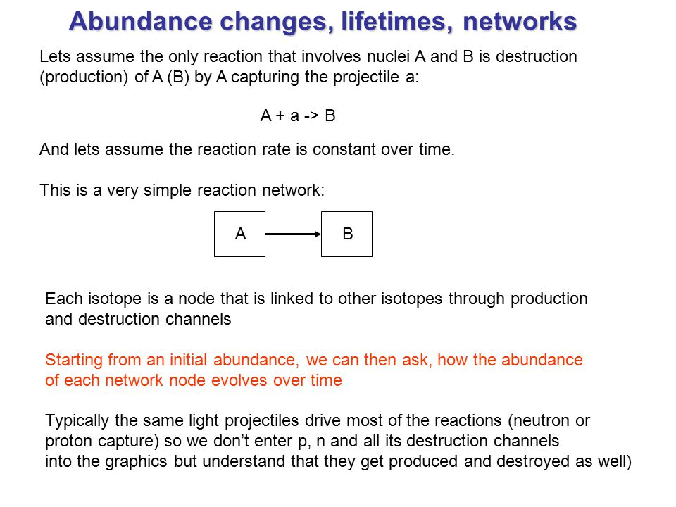 Abundance changes, lifetimes, networks Lets assume the only reaction that involves nuclei A and B is destruction (production) of A (B) by A capturing