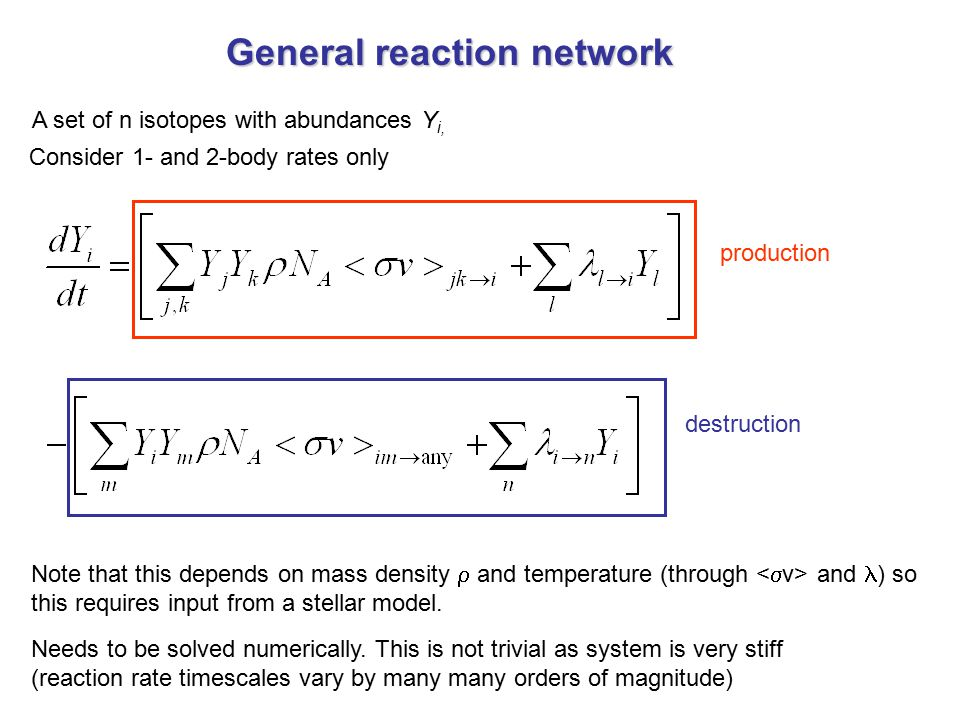 General reaction network A set of n isotopes with abundances Y i, Consider 1- and 2-body rates only production destruction Needs to be solved numerica
