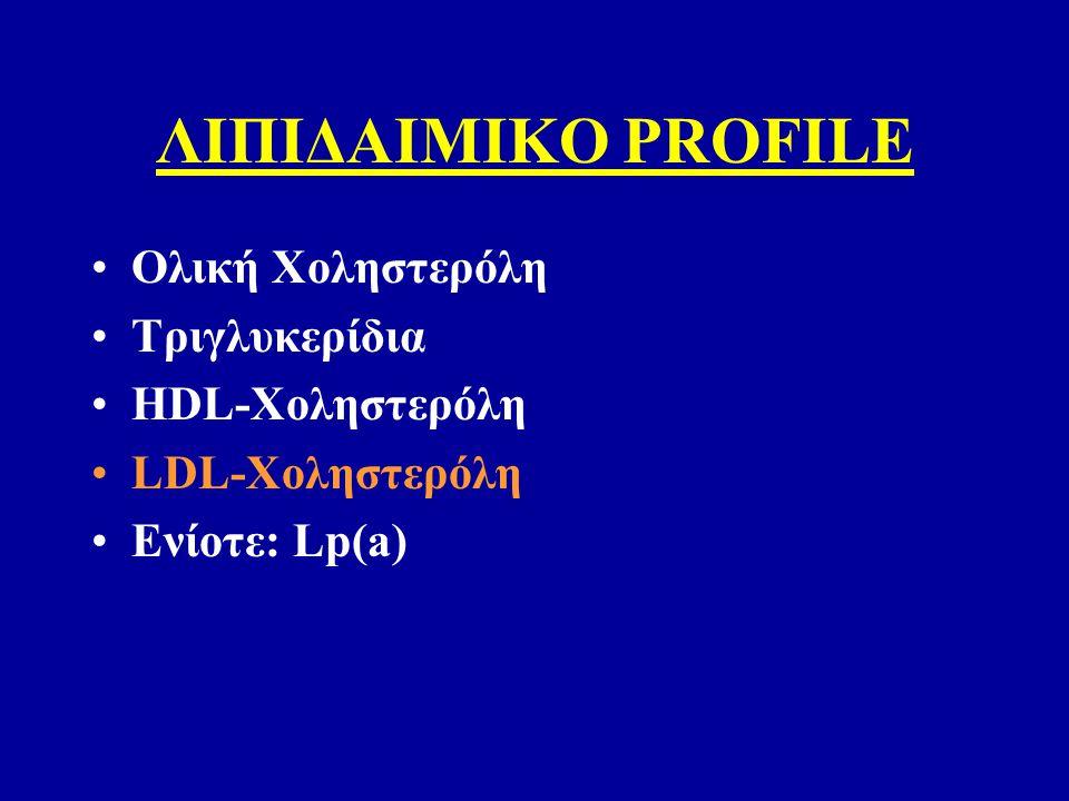 ΛΙΠΙΔΑΙΜΙΚΟ PROFILE Ολική Χοληστερόλη Τριγλυκερίδια HDL-Χοληστερόλη LDL-Χοληστερόλη Ενίοτε: Lp(a)