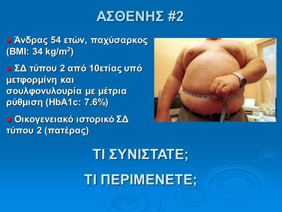 ΑΣΘΕΝΗΣ #2 ● Άνδρας 54 ετών, παχύσαρκος (ΒΜΙ: 34 kg/m 2 ) ● ΣΔ τύπου 2 από 10ετίας υπό μετφορμίνη και σουλφονυλουρία με μέτρια ρύθμιση (HbA1c: 7.6%) ●