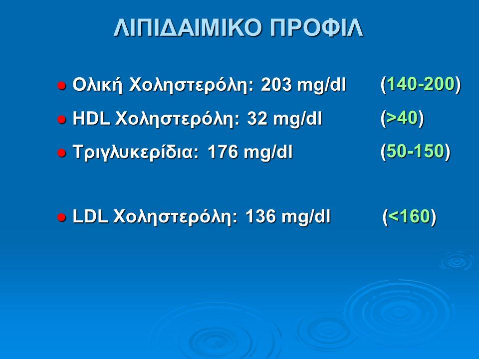 ΛΙΠΙΔΑΙΜΙΚΟ ΠΡΟΦΙΛ ● Ολική Χοληστερόλη: 203 mg/dl ● HDL Χοληστερόλη: 32 mg/dl ● Τριγλυκερίδια: 176 mg/dl ● LDL Χοληστερόλη: 136 mg/dl (<160) (140-200)